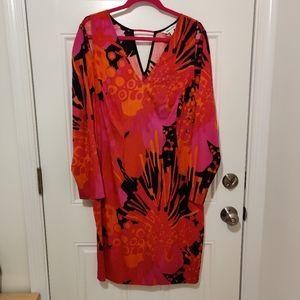 Anna Scholz Silk Long-Sleeve Midi Sheath Dress